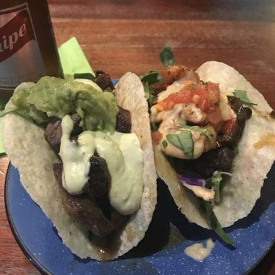 Beef and chicken tacos, The Rum House